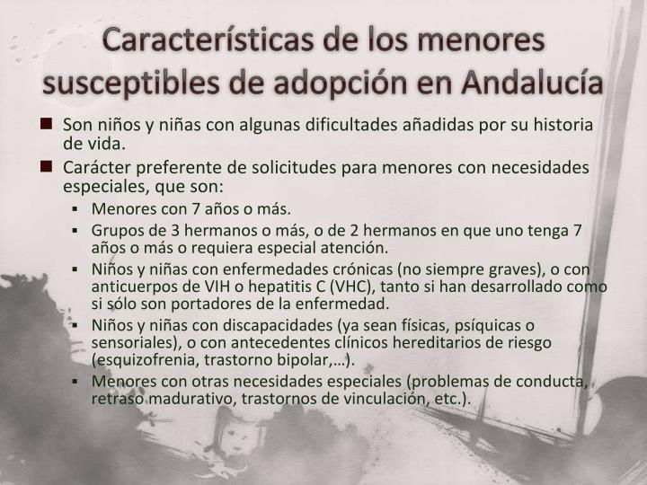 Características de los menores susceptibles de adopción en Andalucía