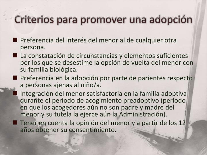 Criterios para promover una adopción