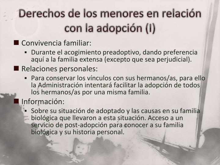 Derechos de los menores en relación con la adopción (I)
