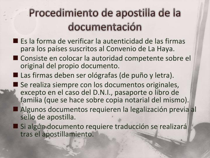 Procedimiento de apostilla de la documentación