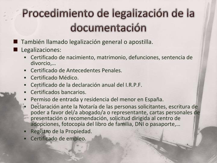 Procedimiento de legalización de la documentación