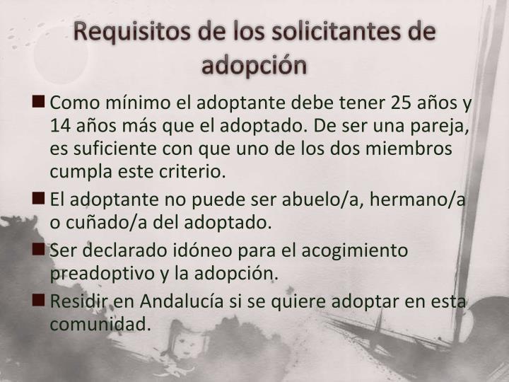 Requisitos de los solicitantes de adopción
