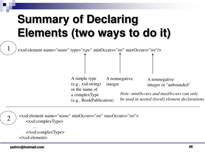 Summary of Declaring Elements (two ways to do it)