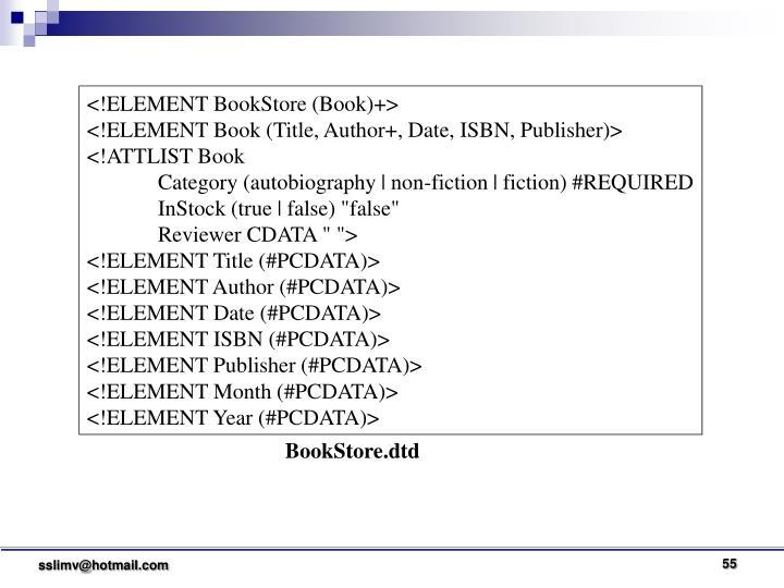 <!ELEMENT BookStore (Book)+>