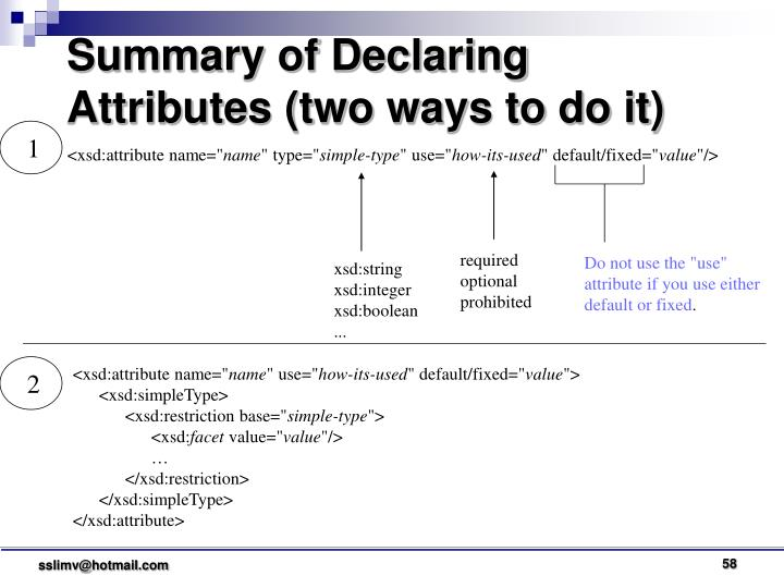 Summary of Declaring Attributes (two ways to do it)
