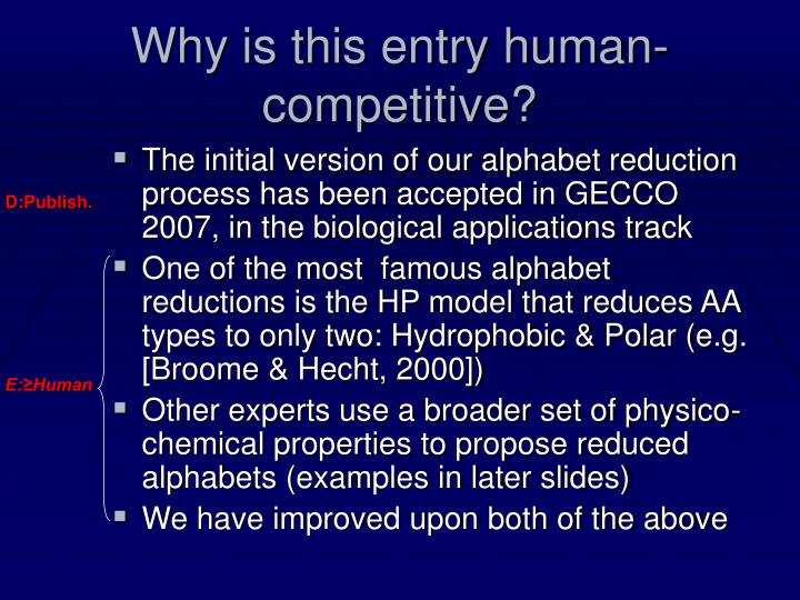 Why is this entry human-competitive?