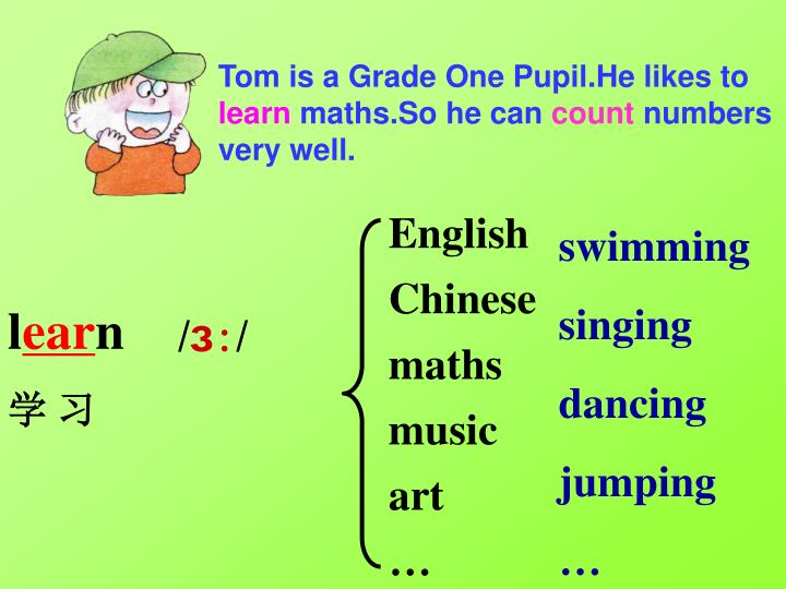 Tom is a Grade One Pupil.He likes to
