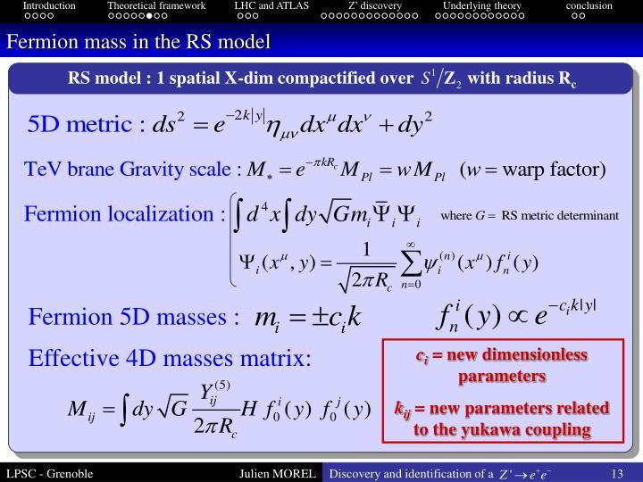 Fermion mass in the RS model