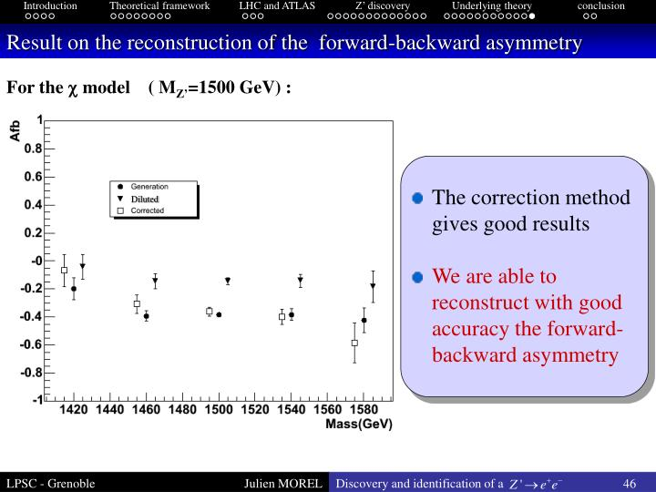 Result on the reconstruction of the  forward-backward asymmetry