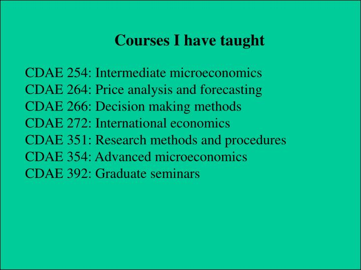 Courses I have taught