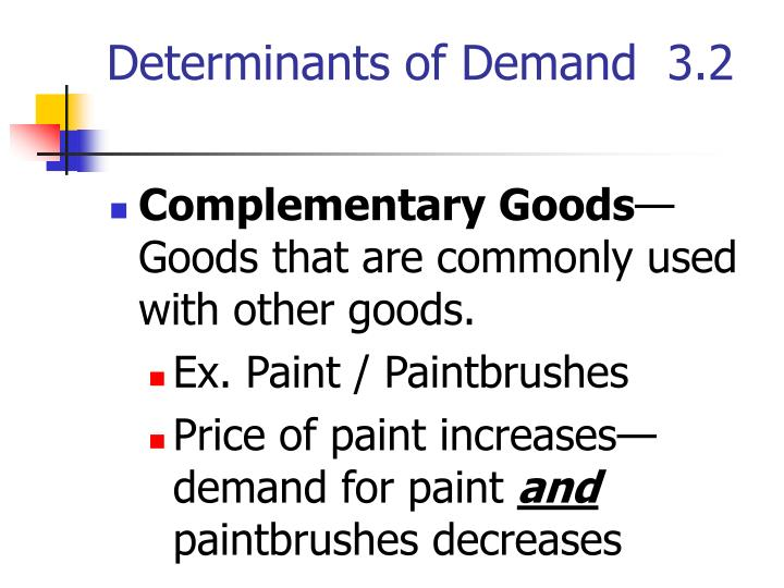 Determinants of Demand  3.2