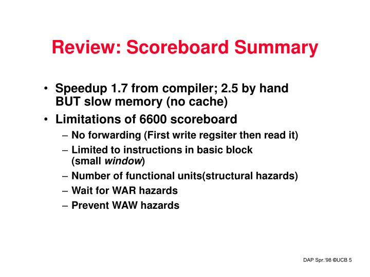 Review: Scoreboard Summary