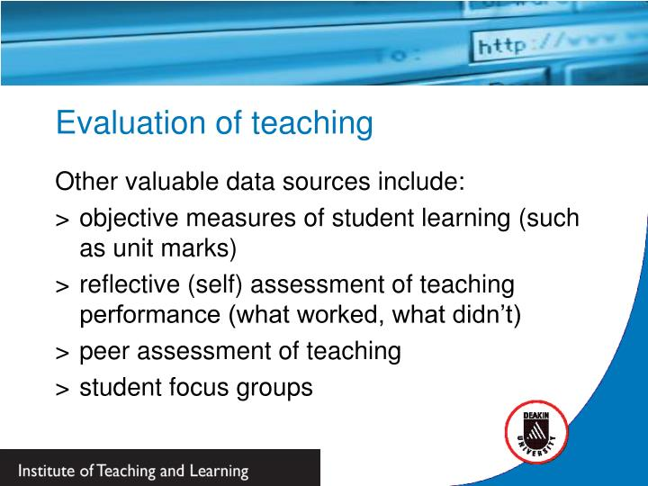 Evaluation of teaching