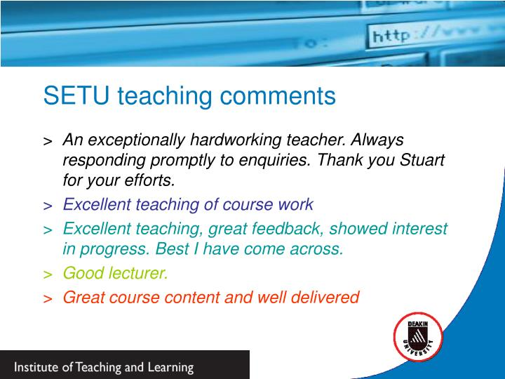SETU teaching comments