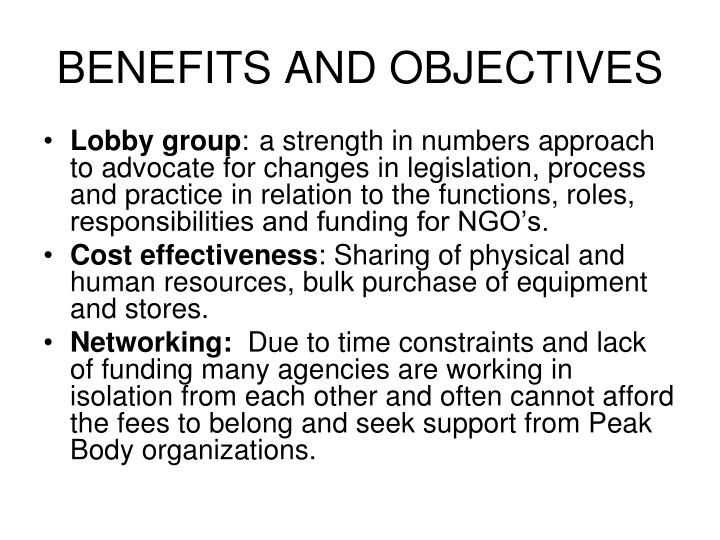 BENEFITS AND OBJECTIVES