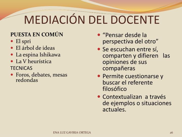 MEDIACIÓN DEL DOCENTE