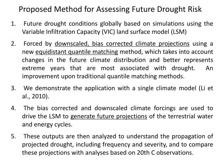 Proposed Method for Assessing Future Drought Risk