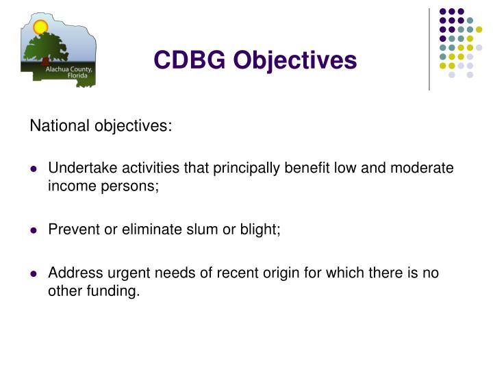 CDBG Objectives