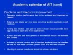 academic calendar of ait cont