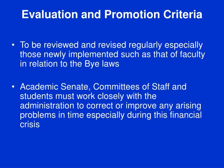 Evaluation and Promotion Criteria