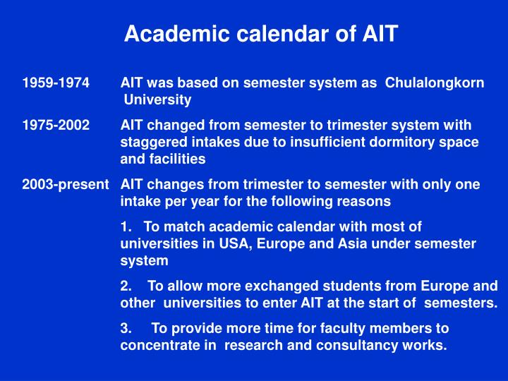 Academic calendar of AIT
