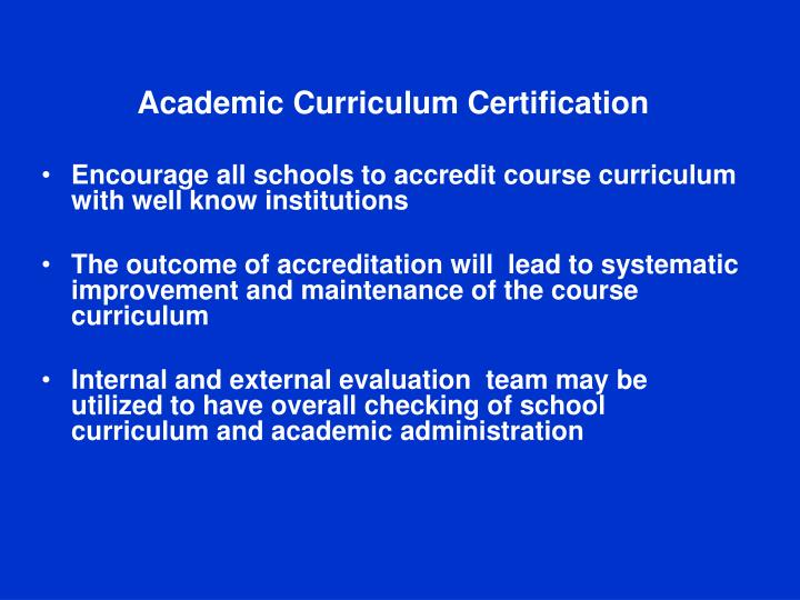Academic Curriculum Certification