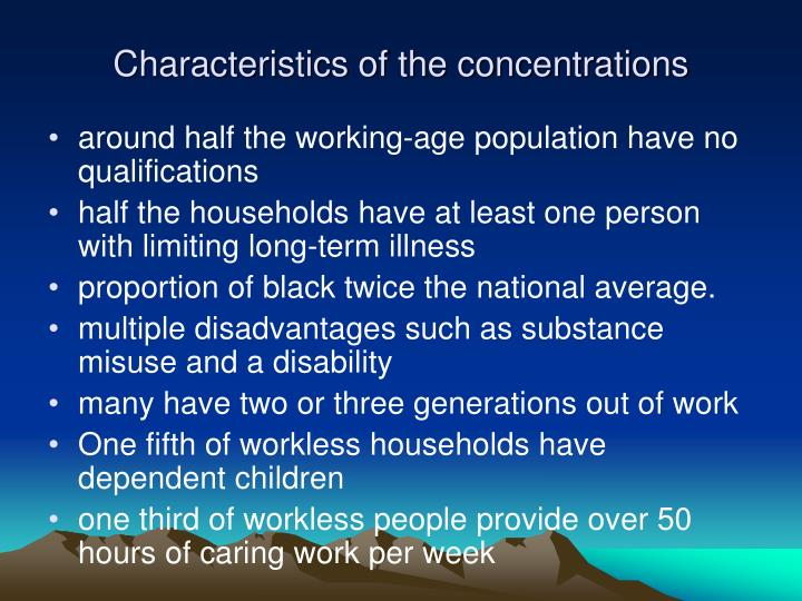 Characteristics of the concentrations