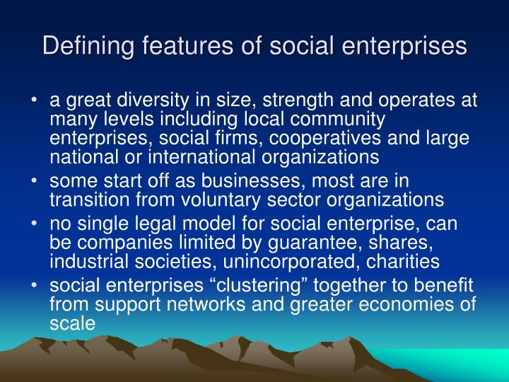Defining features of social enterprises