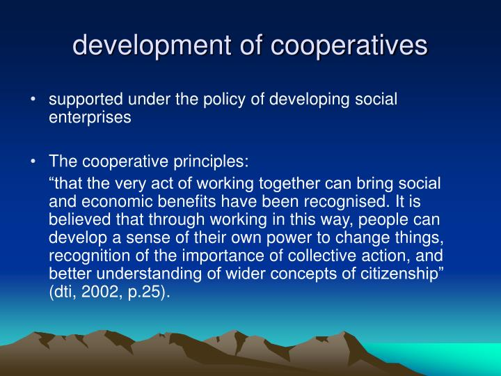 development of cooperatives