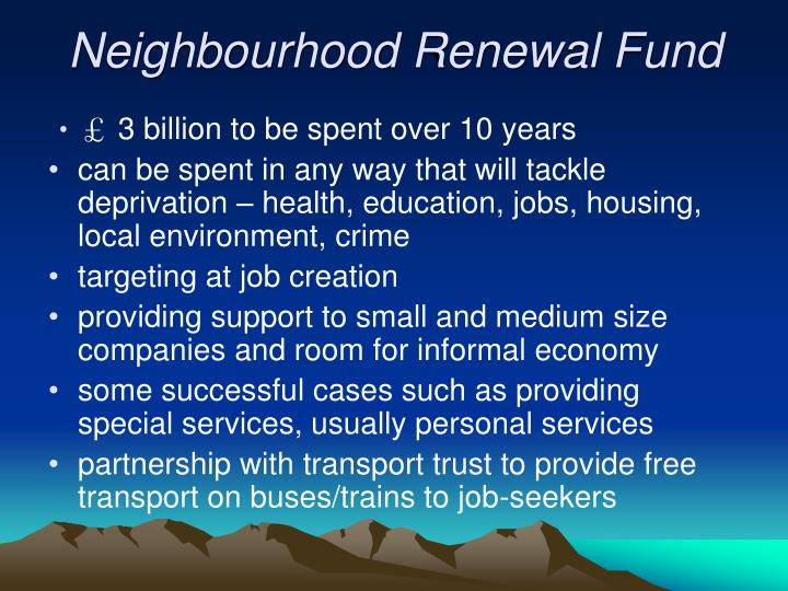 Neighbourhood Renewal Fund