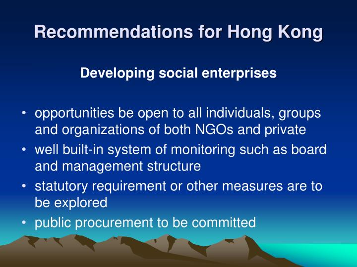 Recommendations for Hong Kong