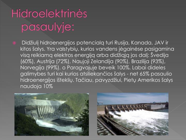 Hidroelektrinės pasaulyje: