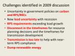 challenges identified in 2009 discussion
