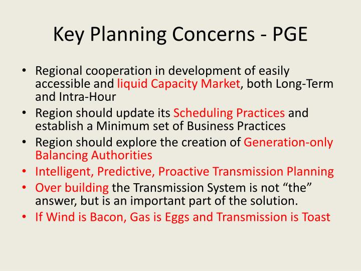 Key Planning Concerns - PGE