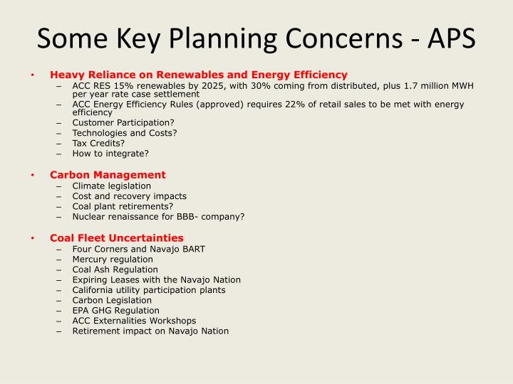 Some Key Planning Concerns - APS