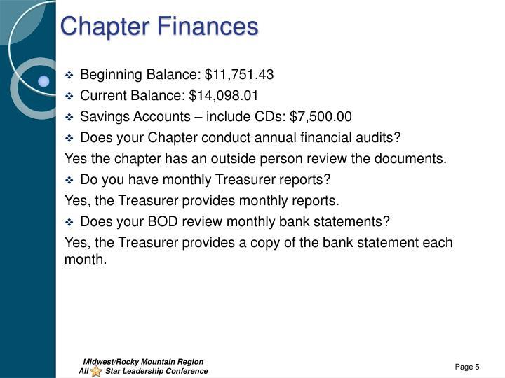 Chapter Finances
