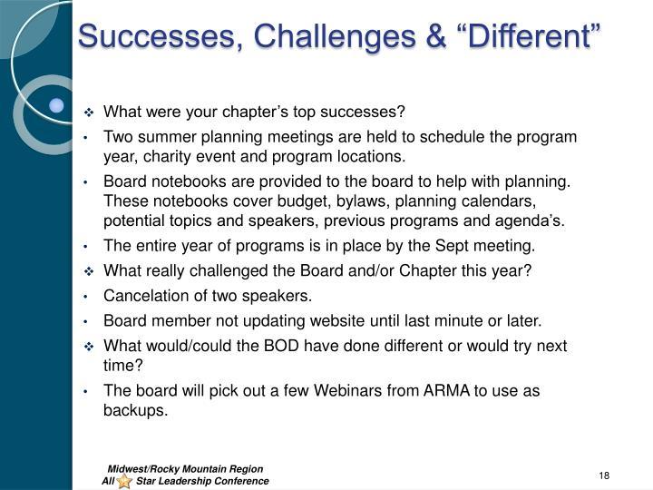 "Successes, Challenges & ""Different"""