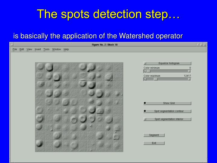 The spots detection step…
