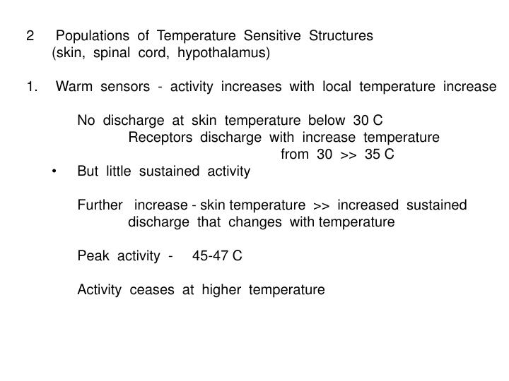 Populations  of  Temperature  Sensitive  Structures