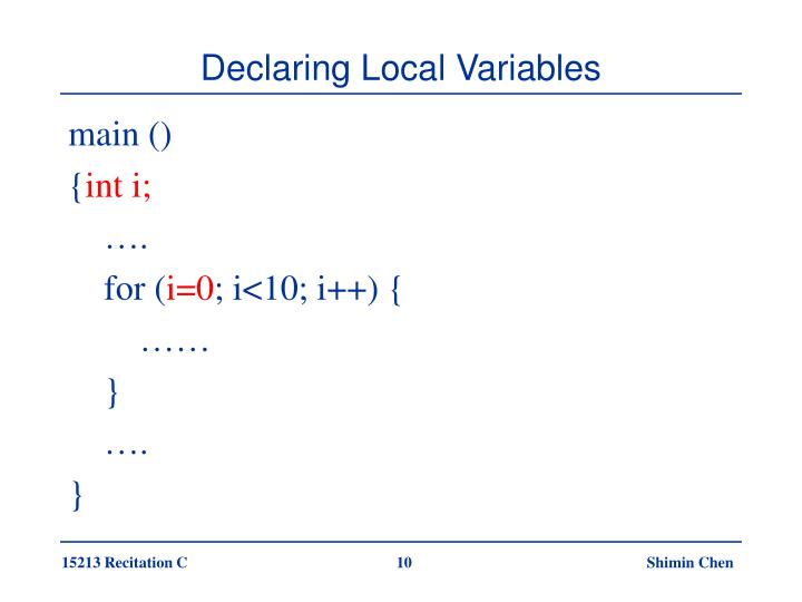 Declaring Local Variables