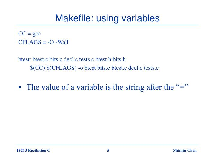 Makefile: using variables