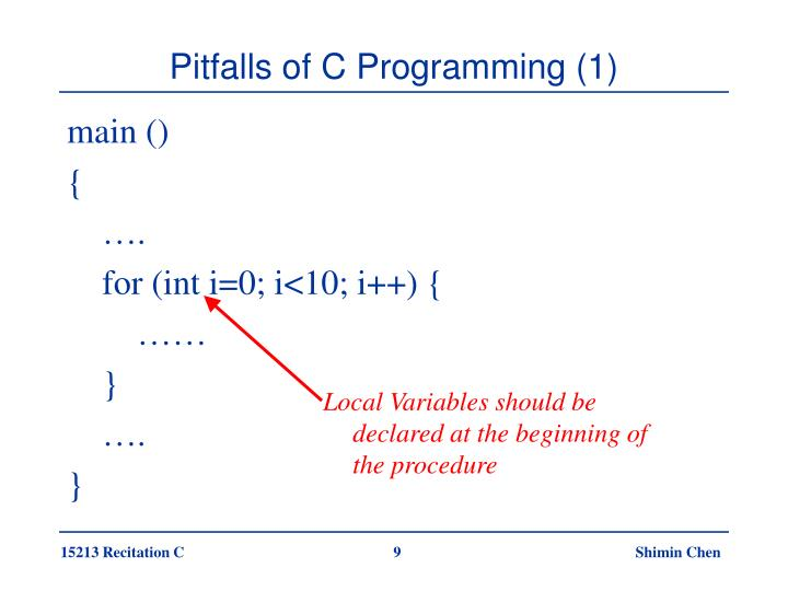 Local Variables should be declared at the beginning of the procedure