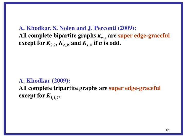 A. Khodkar, S. Nolen and J. Perconti (2009):