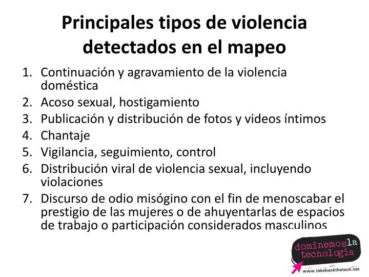 Principales tipos de violencia detectados en el mapeo