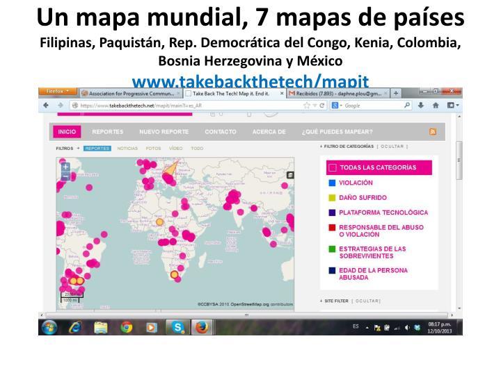 Un mapa mundial, 7 mapas de países
