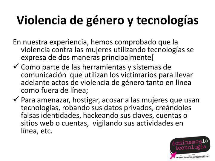 Violencia de género y tecnologías