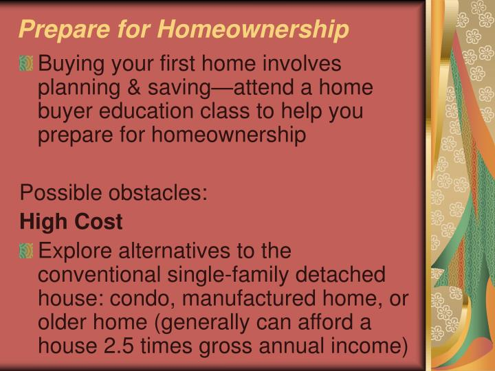 Prepare for Homeownership
