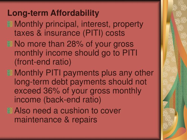 Long-term Affordability