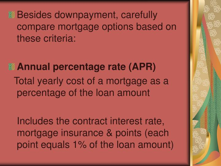 Besides downpayment, carefully compare mortgage options based on these criteria: