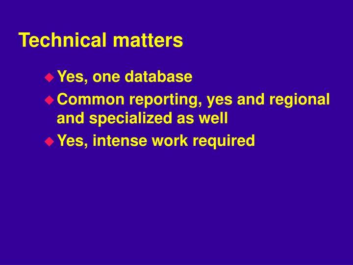 Technical matters